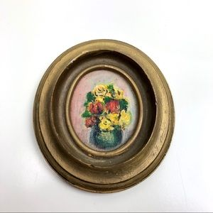 Vintage Mini Rose Painting Cottage Core Gold